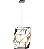 Picture for category Troy F6085 Cubist Pendants 18in Bronze Gold Leaf Polished Stainless 1-light