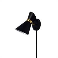 Picture for category Dainolite 1678W-BK-VB Cameron Wall Sconces 6in Black Steel 1-light