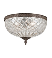 Picture for category Flush Mounts 3 Light With English Bronze Lead Crystal Cast Brass 12 inch 180 Watts - World of Lighting