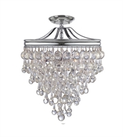 Picture for category Semi Flush Mounts 3 Light With Polished Chrome Clear Glass Drops Steel 12 inch 180 Watts - World of Lighting