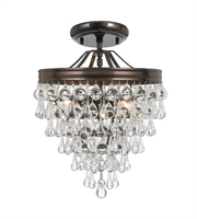 Picture for category Semi Flush Mounts 3 Light With Vibrant Bronze Clear Glass Drops Steel 12 inch 180 Watts - World of Lighting