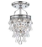Picture for category Semi Flush Mounts 1 Light With Polished Chrome Clear Glass Drops Steel 8 inch 100 Watts - World of Lighting