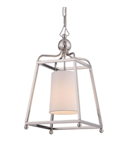 Picture for category Pendants 1 Light With Polished Nickel White Linen Silk Steel 12 inch 100 Watts - World of Lighting