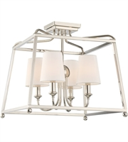 Picture for category Semi Flush Mounts 4 Light With Polished Nickel White Silk Steel 16 inch 240 Watts - World of Lighting