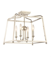 Picture for category Semi Flush Mounts 4 Light With Polished Nickel White Silk Steel Medium 16 inch 240 Watts - World of Lighting
