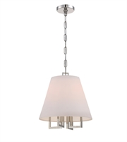 Picture for category Pendants 4 Light With Polished Nickel Silk Steel Drum Candelabra 14 inch 240 Watts - World of Lighting