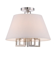 Picture for category Semi Flush Mounts 5 Light With Polished Nickel Silk Steel 16 inch 300 Watts - World of Lighting