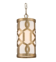 Picture for category Pendants 1 Light With Aged Brass White Linen Steel Drum Medium Base 6 inch 60 Watts - World of Lighting