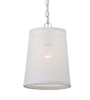 Picture for category Pendants 1 Light With Polished Nickel White Linen Steel Medium 8 inch 60 Watts - World of Lighting