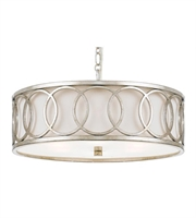 Picture for category Pendants 6 Light With Antique Silver Fabric Steel Drum 19 inch 360 Watts - World of Lighting