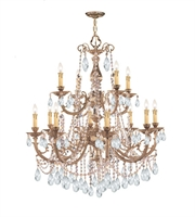 Picture for category Chandeliers 8 Light With Olde Brass Clear Hand Cut Crystal Cast 32 inch 480 Watts - World of Lighting