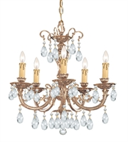 Picture for category Chandeliers 5 Light With Olde Brass Clear Swarovski Strass Crystal Cast Brass 20 inch 300 Watts - World of Lighting
