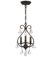 Picture for category Mini Chandeliers 3 Light With English Bronze Hand Cut Crystal 10 inch 180 Watts - World of Lighting
