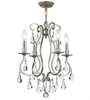 Picture for category Mini Chandeliers 4 Light With Olde Silver Clear Hand Cut Clear Crystal Steel 16 inch 240 Watts - World of Lighting