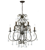 Picture for category Chandeliers 9 Light With English Bronze Clear Hand Cut Crystal Steel 26 inch 540 Watts - World of Lighting