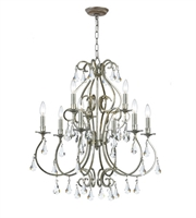 Picture for category Chandeliers 9 Light With Olde Silver Clear Hand Cut Clear Crystal Steel 26 inch 540 Watts - World of Lighting