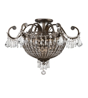 Picture for category Semi Flush Mounts 6 Light With English Bronze Clear Hand Cut Crystal Wrought Iron 22 inch 360 Watts - World of Lighting