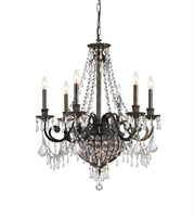 Picture for category Chandeliers 6 Light With English Bronze Clear Hand Cut Crystal Wrought Iron 27 inch 360 Watts - World of Lighting