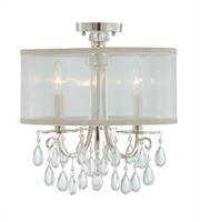 Picture for category Semi Flush Mounts 3 Light With Polished Chrome Clear Smooth Teardrop Almond Silk Brass 14 inch 180 Watts - World of Lighting