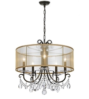 Picture for category Chandeliers 5 Light With English Bronze Clear Hand Cut Steel and Crystal 24 inch 300 Watts - World of Lighting