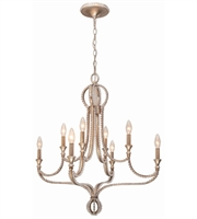 Picture for category Chandeliers 8 Light With Distressed Twilight Hand Cut Crystal Beads Wrought Iron 28 inch 480 Watts - World of Lighting