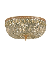 Picture for category Flush Mounts 3 Light With Olde Brass Golden Teak Hand Cut Crystal 12 inch 180 Watts - World of Lighting