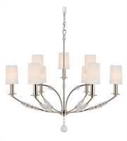 Picture for category Chandeliers 9 Light With Polished Nickel Steel and Crystal 36 inch 540 Watts - World of Lighting