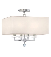 Picture for category Semi Flush Mounts 4 Light With Polished Nickel White Linen Steel and Crystal 16 inch 240 Watts - World of Lighting