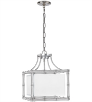 Picture for category Chandeliers 4 Light With Antique Silver White Linen Steel 15 inch 240 Watts - World of Lighting