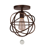 Picture for category Semi Flush Mounts 1 Light With English Bronze Wrought Iron 9 inch 100 Watts - World of Lighting