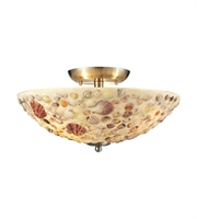 Picture for category Semi Flush 3 Light With Satin Nickel Finish Multi Shells Medium Base 16 inch 180 Watts - World of Lamp