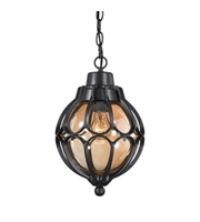 Picture for category Outdoor Pendant 1 Light With Matte Black Finish Tea Glass Medium Base 9 inch 60 Watts - World of Lamp