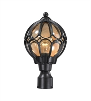 Picture for category Outdoor Post 1 Light With Matte Black Finish Tea Glass Medium Base 16 inch 60 Watts - World of Lamp