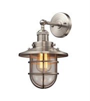 Picture for category Wall Sconces 1 Light With Satin Nickel Finish Medium Base 8 inch 60 Watts - World of Lamp