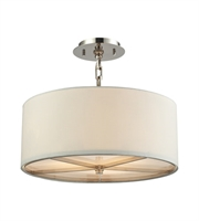 Picture for category Pendants 3 Light With Polished Nickel Finish White Fabric Medium Base 17 inches 180 Watts - World of Lamp