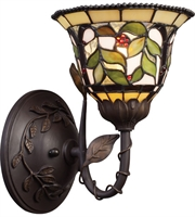 Picture for category Wall Sconces 1 Light With Tiffany Bronze Finish Medium Base 7 inch 75 Watts - World of Lamp