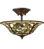 Picture for category Semi Flush 3 Light With Tiffany Bronze Finish Medium Base 16 inch 225 Watts - World of Lamp