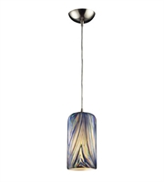 Picture for category Pendants 1 Light With Satin Nickel Finish Molten Ocean Glass Medium Base 5 inches 60 Watts - World of Lamp