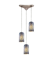 Picture for category Pendants 3 Light With Satin Nickel Finish Molten Ocean Glass Medium Base 10 inch 180 Watts - World of Lamp
