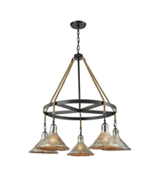 Picture for category Chandeliers 5 Light With Oil Rubbed Bronze Finish Antique Mercury Glass Medium Base 36 inch 300 Watts - World of Lamp