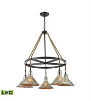 Picture for category Chandeliers 5 Light LED With Oil Rubbed Bronze Finish Antique Mercury Glass Medium Base 36 inch 47.5 Watts - World of Lamp