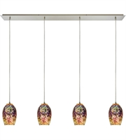 Picture for category Pendants 4 Light With Satin Nickel Finish 3D Firework Irridescent Glass Medium Base 46 inches 240 Watts - World of Lamp