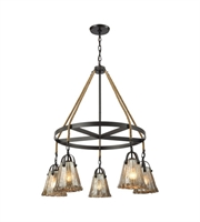 Picture for category Chandeliers 5 Light With Oil Rubbed Bronze Finish Antique Mercury Glass Medium Base 33 inch 300 Watts - World of Lamp