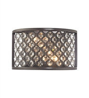 Picture for category Wall Sconces 2 Light With Oil Rubbed Bronze Finish Crosshatch Mesh With Clear Crystals Candelabra 10 inch 120 Watts - World of Lamp