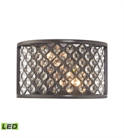 Picture for category Wall Sconces 2 Light With LED Oil Rubbed Bronze Finish Crosshatch Mesh With Clear Crystals Candelabra 10 inch 10 Watts - World of Lamp