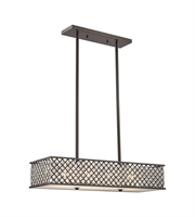 Picture for category Chandeliers 4 Light With Oil Rubbed Bronze Finish Crosshatch Mesh With Clear Crystals Medium Base 31 inch 400 Watts - World of Lamp