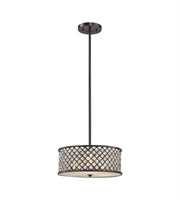 Picture for category Chandeliers 3 Light With Oil Rubbed Bronze Finish Crosshatch Mesh With Clear Crystals Medium Base 16 inch 300 Watts - World of Lamp