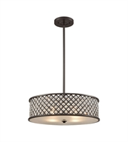 Picture for category Chandeliers 4 Light With Oil Rubbed Bronze Finish Crosshatch Mesh With Clear Crystals Medium Base 21 inch 400 Watts - World of Lamp
