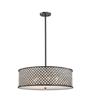 Picture for category Chandeliers 6 Light With Oil Rubbed Bronze Finish Crosshatch Mesh With Clear Crystals Medium Base 29 inch 600 Watts - World of Lamp