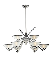 Picture for category Chandeliers 9 Light With Polished Chrome Finish Etched Clear Glass G9 31 inch 360 Watts - World of Lamp